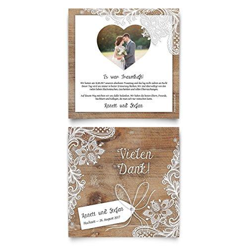 Danksagungskarten (20 Stück) - Rustikal in Weiß - Dankeskarten Danksagung Hochzeit