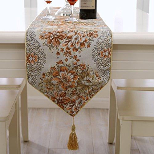 luxe Plant bloemen en planten Gouddraad borduurwerk paleis Stijl Tafelvlag Bronzen stof Europese stijl luxe tafelkleed klassieke Wild salontafel decoratie Huismeubels Oranje