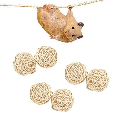 Gibsob 6 Piezas Juguetes para Masticar Conejos, Juguete para Conejos Enanos, Natural Bola de Hierba, Cuidado de la Salud de los Dientes de Mascotas, Aumenta la Diversión para Conejos, Hámsters