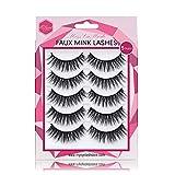 Misslamode Mink False Lashes Natural Look Handmade Luxurious Volume Wispy Natural False Fake Strip Eyelashes 5 Pairs