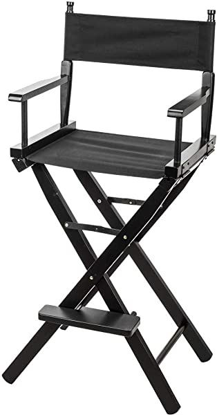 CLAR DC 30 Directors Chair 30 Height Lightweight Foldable Portable Black Wood Frame With Footrest For Home Or Commercial Use Makeup Artist Chair Film Directing Or YouTube Black