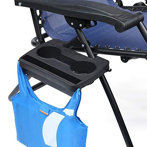 Universell einsetzbares Mini-Tablett für Campingstühle, ideal für Telefone, Becher, Flaschen, Bücher und Zeitschriften, mit Haken zum Aufhängen von Taschen