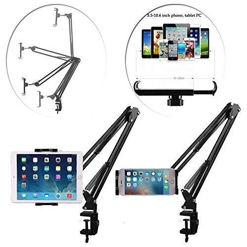 Phone & Tablet Stand Bed Mount Holder - 360 Degree Sturdy Metal Arm, Lock Nut, Padded Adjustable Mounting Clamp for iPhone iPad Nintendo Kindle Fire Galaxy Tab 3.6-10.6 Inch Device Gaming Video Chat