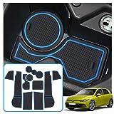 RUIYA para Golf 8 MK8 GTI GTD GTE 2020+ Alfombrillas de goma antideslizantes Soporte para bebidas Alfombrillas para ranuras de puerta Accesorios para coche, 10 piezas (Azul)