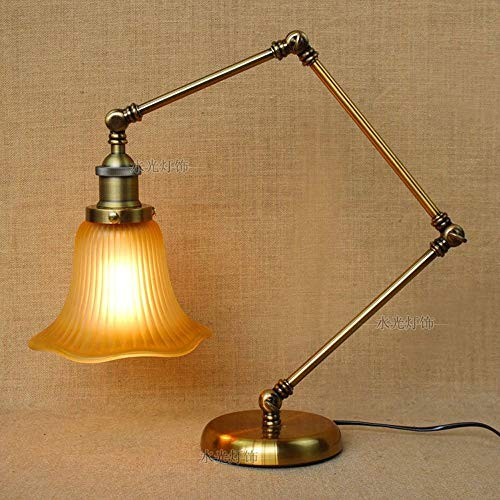 Hami Vintage Desk Light Rocker Adjustable Swing Arm in Metal Bronze Antique Finish Industrial Retro Tabletop Lighting for Living Room Restaurant Office E27