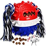 Pet Dog Ball Squeaky Float Toy Balls with Toothbrush Shaped to Clean teeth-2021 New Upgraded Treating Food Dispensing Dog Toy for S/M/L Dogs and Puzzle Interactive Toy Ball for Puppy