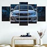 Lienzos decorativos Coche de carreras de Subaru-150x80 CM Cuadros Modernos Impresión de Imagen Artística Digitalizada Lienzo Decorativo Para Salón o Dormitorio 5 Piezas