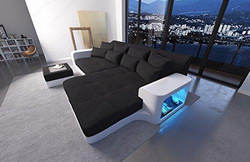 Sofa Dreams BIGSOFA MEGASOFA Big SOFÁ Milano con LED RGB ILUMINACIÓN Mezcla Material Cuero Tela Mix SOFÁ DE Tela SOFÁ DE Tela