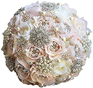 Abbie Home Luxury Jewelry Wedding Bridal Bouquet - Crystal Pearls and Rhinestone Decorated Rose Flower in Champagne Blush ...