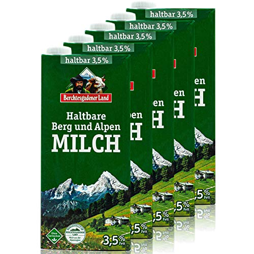 Berchtesgadener Land - 5er Pack H-Vollmilch 3,5 % in 1 Liter Packung - Haltbare Milch von Höfen aus der Berg- und Alpenregion (Bergbauernmilch)