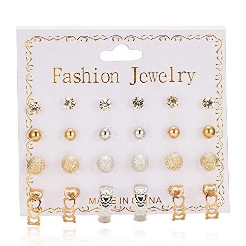 Juego de 12 pares de pendientes de perlas de cristal para mujer, pendientes para el día de San Valentín, aniversario, cumpleaños, regalo para su esposa, novia o novia, oro
