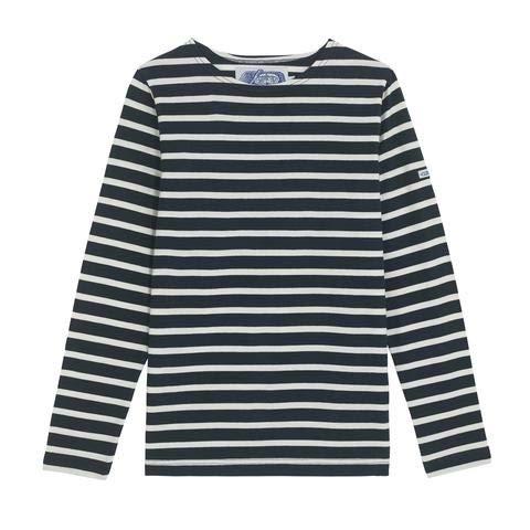 Breton Shirt Co. The Nautique | Azul oscuro y blanco rayas francesas pescador marinero azul marino manga larga algodón orgánico Azul Azul Oscuro Y Blanco 46