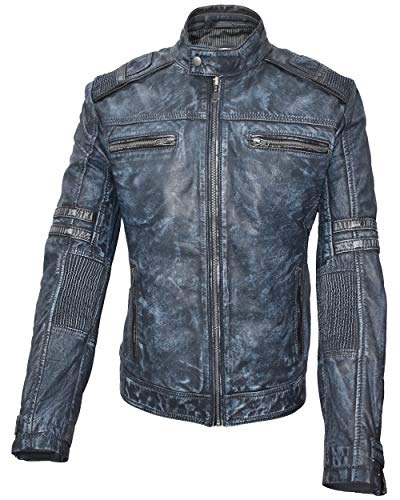 Leder24h Herren Lederjacke mit weichem Antik Leder - 9005 9006 9007 (Blau, XXL)