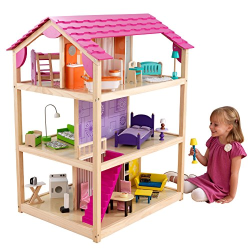 KidKraft- So Chic Casa de muñecas de madera con muebles y accesorios incluidos, 3 pisos, para muñecas de 30 cm , Color Multicolor (65078)