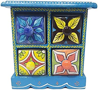India Meets India Ceramic and Wooden Small Chest of 4 Drawers Hand Decorated Embossed Painting Organizer (Dark Brown)