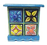 India Meets India Handicraft Crafted Wooden & Ceramic Small Chest of 4 Decorated Drawers Jewellery Organizer Desk Organizer Showpiece Table Décor Pure Hand Decorated Embossed Painting