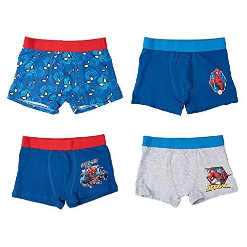 United Labels Spiderman Boxershorts 4er Pack für Jungen, Unterwäsche Unterhose Kinder, Blau Grau (110/116)
