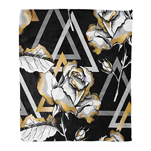 Janyho Practical Blanket Seamless with of a Gold Rose Flowers and Triangle Geometry Black Suitable Four Season Sleeping Bedroom Home Living Room Sofa Camping 50 X 60 Inch