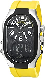 Philip Stein Men's 3RB-AD-RY Signature Black Plated Chronograph Yellow Rubber Strap Watch image