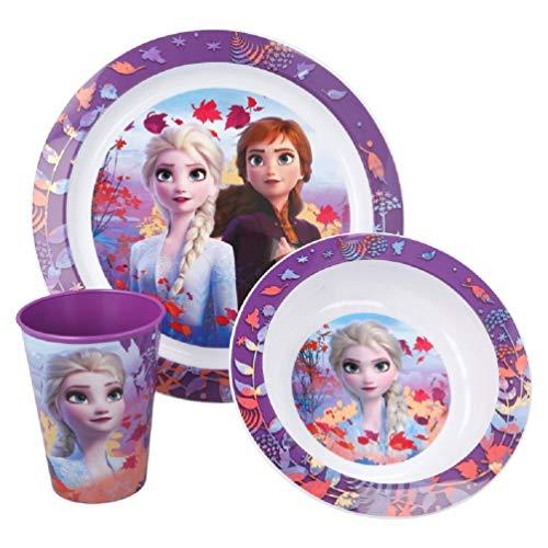 Frozen II La Reine des Neiges 2 Anna et Elsa Service de table 3 pièces pour micro-ondes Sans BPA