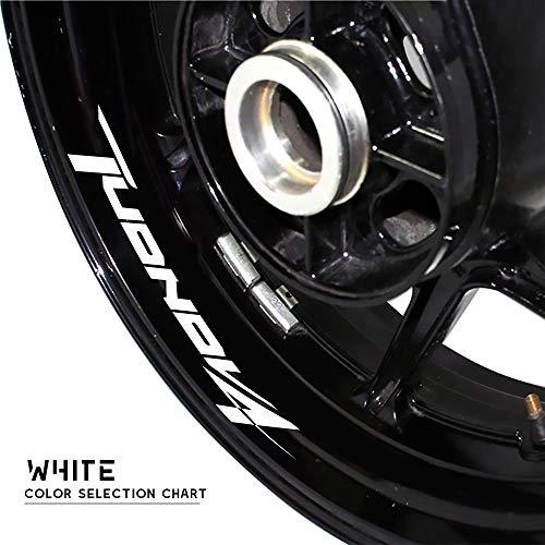 PUXINGPING- Logotipo de la Rueda de la Motocicleta Pegatina Reflectante Moto Llanta Neumático Accesorios Decorativos Adhesivos for Aprilia TUONOV4 (Color : Silver)