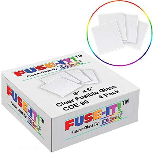 iDichroic Fuse It 6 inch Fusible Clear Glass Squares COE 90-4 Pack