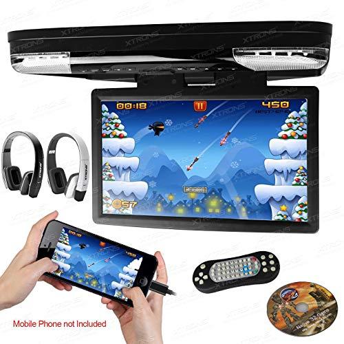XTRONS 15.6 Inch 1080P Video HD Digital Widescreen Car Overhead Coach Caravan Roof Flip Down DVD Player Game Disc HDMI Port IR Headphones Included