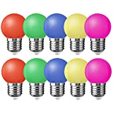 10X E27 Bombilla de Color 1W Vistoso LED Lámpara 100LM Globo Colores LED Material de PC Conveniente para Decoración AC220V-240V