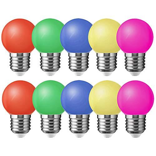 10er E27 Led Bunte 1W Farbige Glühbirnen 100 Lm Energiesparende Led Bunte Birnen Deko Glühbirne,Rot, Gelb, Blau, Grün und Rosa