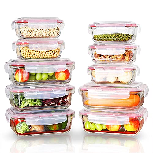 Vinsani 10 PCs Rectangle Glass Food Containers with Lids - Airtight Glass Containers with Lids Food Prep Container - Glass Meal Prep Containers Glass Storage Containers with Lids