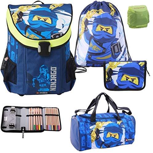 Lego Ninjago Easy Schulranzen-Set 5tlg. Team Ninja Jay mit Federmappe gefüllt, Turnbeutel, Regenschutz und großer Sporttasche