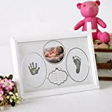 Baby Handprint Kit & Footprint Photo Frame for Newborn Girls and Boys, Handprint and Footprint Ink Pads, Keepsake Gift Box Decorations for Room Wall, Best Birthday or Christmas Gift for Baby (White)