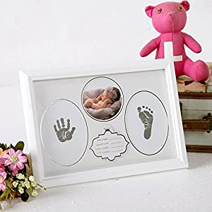 Baby Ink Handprint Footprint Keepsake Kit,Baby Prints Photo Frame for Newborn,Baby Nursery Memory Art Kit Frames – Baby Shower Picture Frames for Baby Registry Boys,Girls(White)