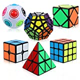 ThinkMax Speed Cube Set, 6 Pack Magic Cube Bundle - 2x2x2 3x3x3 Pyramid Megaminx Skew Cube Magic Rainbow Ball, Puzzle Cube Toy for Kids and Adults