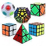 ThinkMax Zauberwürfel Set, 6 Stück Speed Cube Set - 2x2x2 3x3x3 Pyramide Megaminx Skew Cube Magic Cube Regenbogenball, Puzzle Cube Spielzeug für Kinder und Erwachsene