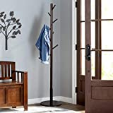 Vlush Sturdy Wooden Coat Rack Stand, Entryway Hall Tree Coat Tree with Solid Round Base...