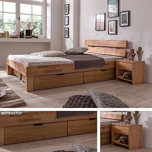 Eternity-Moebel24 Futonbett Schlafzimmerbett - SKARA - Kernbuche Buche geölt Bett Liegefläche 140 x 200 cm inkl. 1 x Nachtkonsole + 2 x Bettkästen
