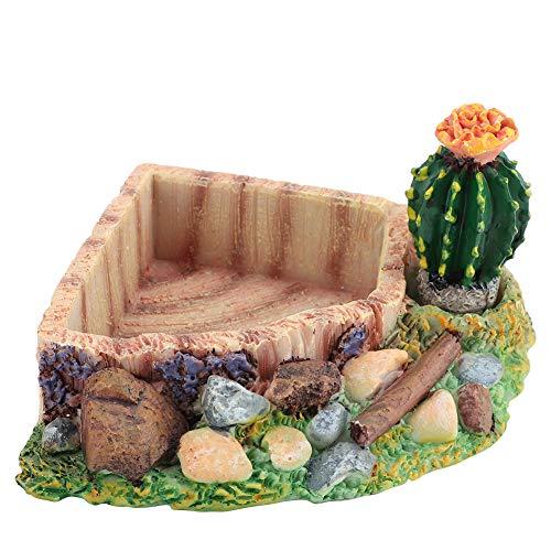 Pssopp Plato de agua de resina para reptiles, cuenco de tortuga, plato de alimento para reptiles, comedero de gusanos, terrario, plato de cactus, decoración para lagarto, Gecko otros reptiles