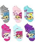 Shimmer and Shine Girls 6 pack Socks (Shoe Size: 7-10 (Sock: 4-6), Shimmer Shine Grey/Multi)