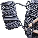 Braid Cotton Yarn Arm Knitting DIY Handmade Chunky Blanket Machine Washable (Dark Grey-6.6 LB)