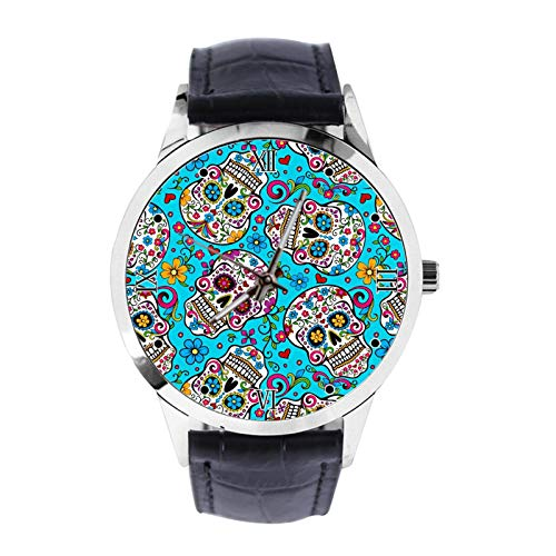 Colors, Dia de Muertos, Cráneo Personalizado Reloj de Pulsera Unisex Analógico Reloj de Cuarzo con Correa de Cuero Relojes para Niñas Niños Reloj de Pulsera