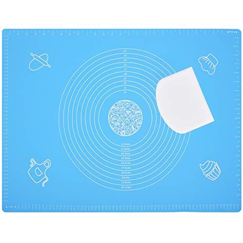 Backmatte Silikon,Backen Silikonmatte Groß 70x50cm Baking Mat mit Messungen,Rutschfeste,Nonstick Teigmatte Wiederverwendba Backunterlage Dauerbackmatte für Fondant,Gebäck,Pizza,Cookie Matte (Blau)