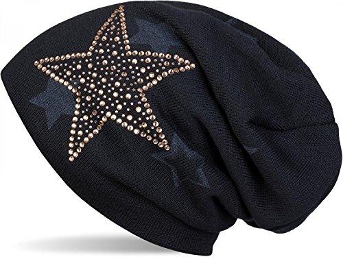 styleBREAKER warme Feinstrick Beanie Mütze mit All Over Stern Muster, Strass Stern und sehr weichem Fleece Innenfutter, Unisex 04024084, Farbe:Midnight-Blue/Dunkelblau