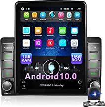 Android Double Din Car Radio with GPS 9.5 Inch Vertical Screen HD 2.5D Tempered Glass Car Stereo with Bluetooth WiFi GPS FM Radio Receiver iOS/Android Mirror Link + AHD Backup Camera & Microphone