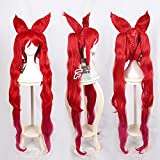 Game LOL Star Guardian Jinx Cosplay Wigs 120cm Long Red Mixed Loose Wave Cosplay Wig Heat Resistant Synthetic Hair Wigs + Ears