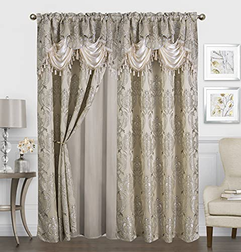 Traditional Jacquard Curtain Drape Set (2 Panels) 84 Inch Long, Includes attached Valance, Sheer Backing, 2 Tassels, Damask Floral Pattern Drape for Living and dining rooms, 647-84, Beige
