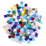 Tesselle en Verre (800 Pcs) - Carreaux de Mosaique 1 cm x 1 cm x 0,3 - Assortiment Multicolore pour les Loisirs Créatifs et Artistiques, Décorations, Mur, Assiettes, Tasse, Pot de Fleur, Miroir