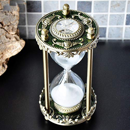 Antique Decorative Hourglass Sand Timer - 30 Minute, Unique Vintage Golden Green Metal Art Hour Glass for Office Desk Home Decor - Birthday Gift