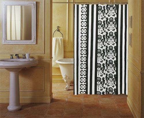 GELCO Textil-Duschvorhang 'BLACK und WHITE' 180x200 cm - schwarz/weiß gestreift mit floralem Muster - beschwerter Saum - DESIGN-Duschvorhang