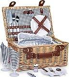 SatisInside - Cesta de Picnic para 2 Juegos de Picnic de Mimbre con Forro Aislado para Camping, Boda, Día de San Valentín, Regalo, Mango Reforzado, Gris